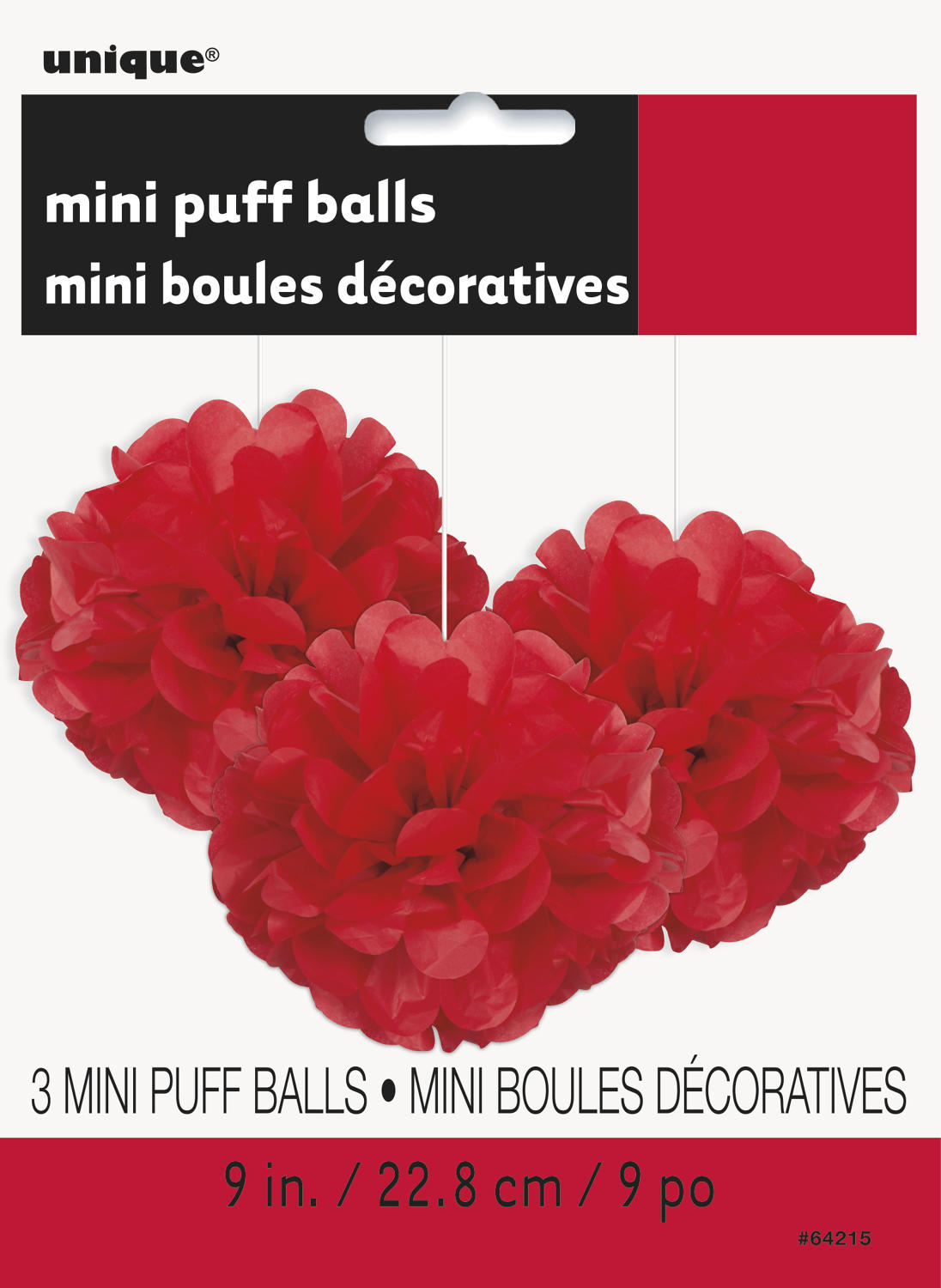 Red 9 inch fluffy pom poms