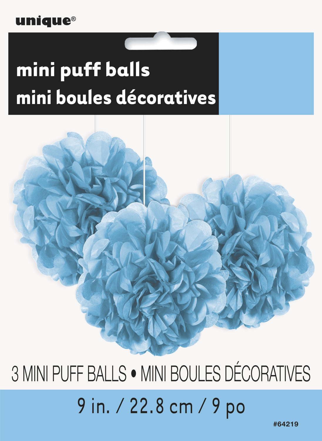 Powder Blue 9 inch fluffy pom poms