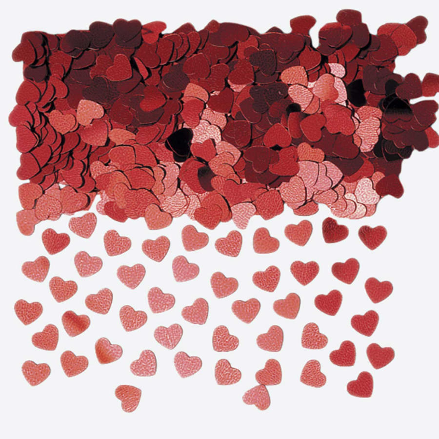 Red table confetti hearts