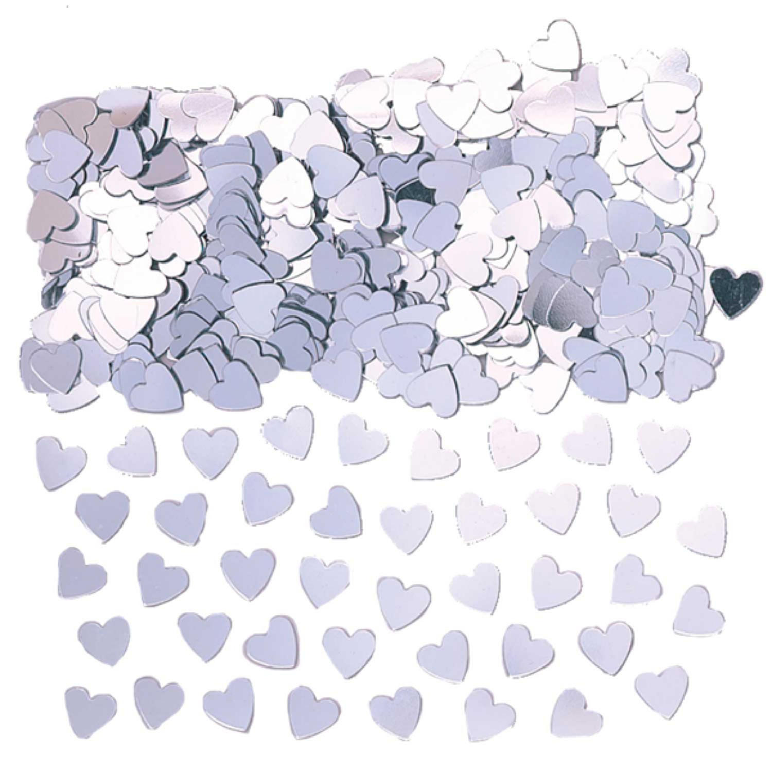 Silver table confetti hearts