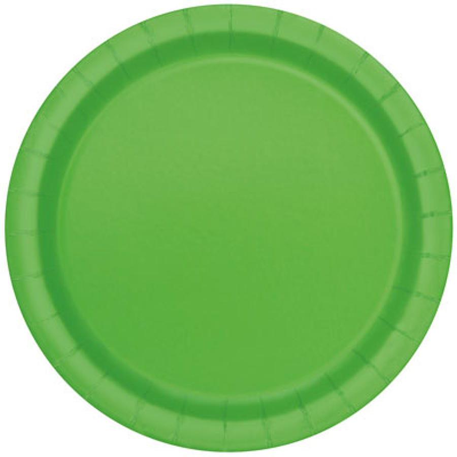 Lime Green paper plates - 9