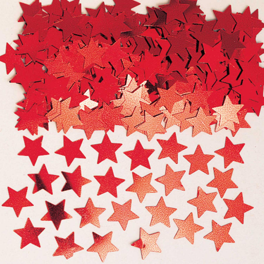 Red star table confetti