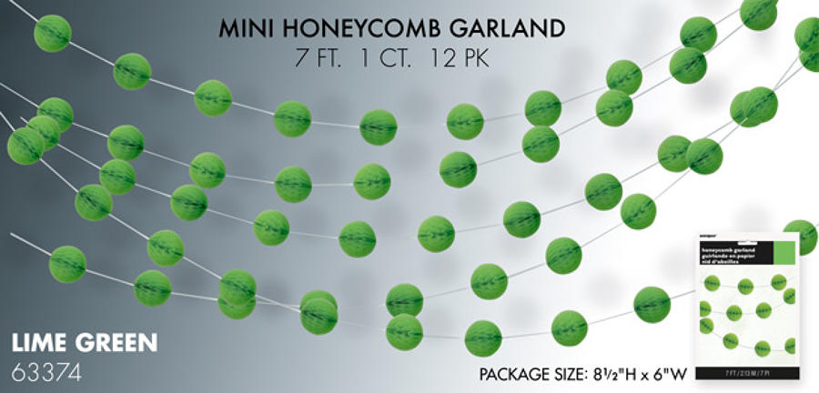 Lime Green Mini Honeycomb Garland