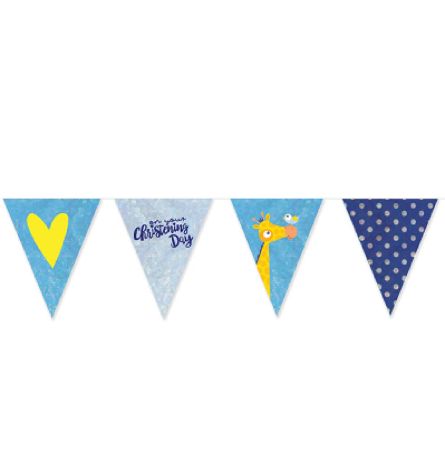 Christening Day Blue Foil Pennant Bunting