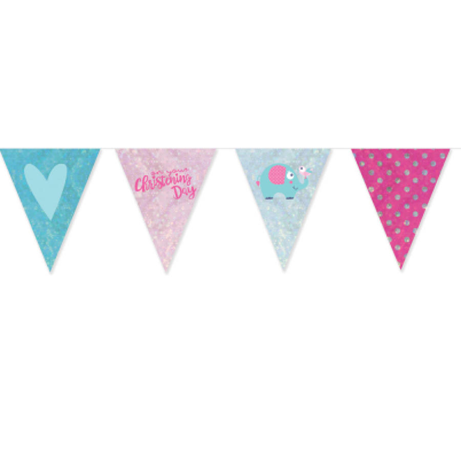 Christening Day Pink Foil Pennant Bunting