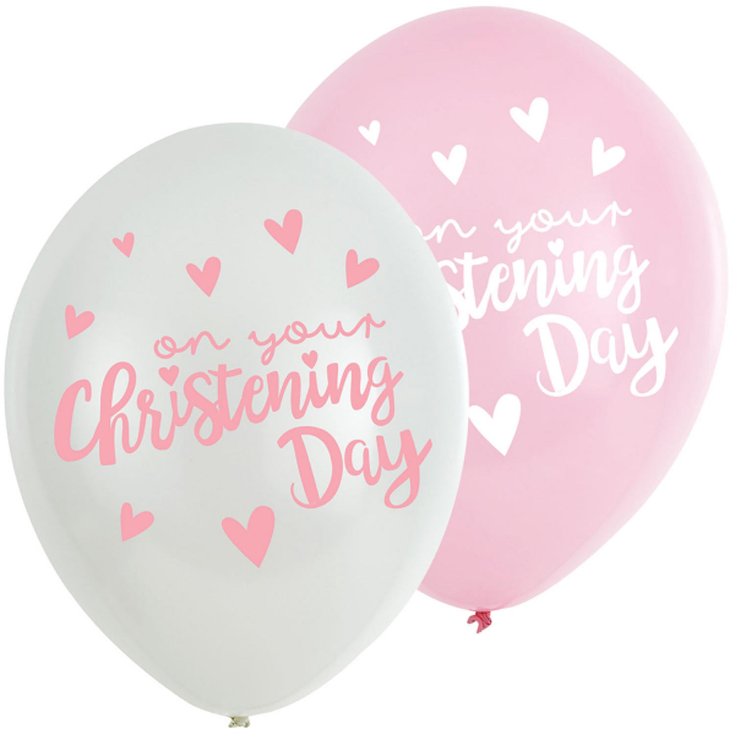 Christening Day Pink Latex Balloons