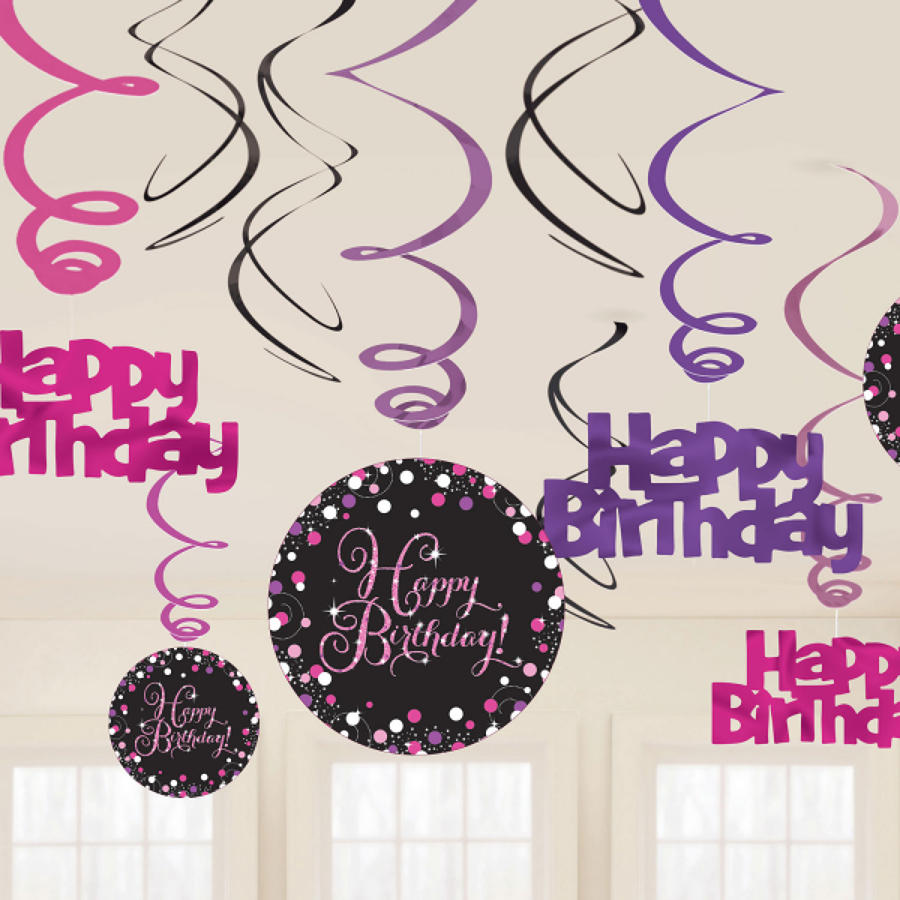 Happy Birthday Swirl Decoration