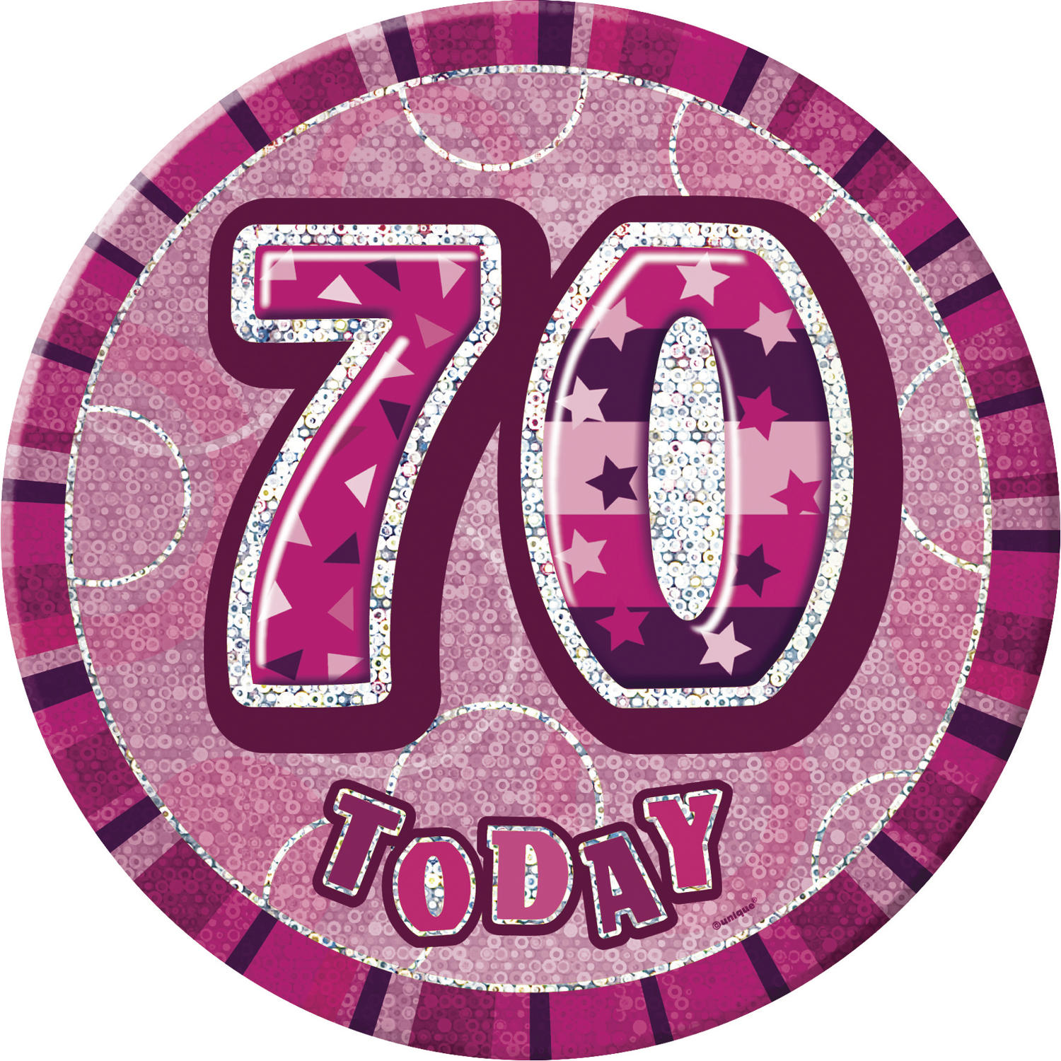 Pink Glitz 70th Birthday Badge