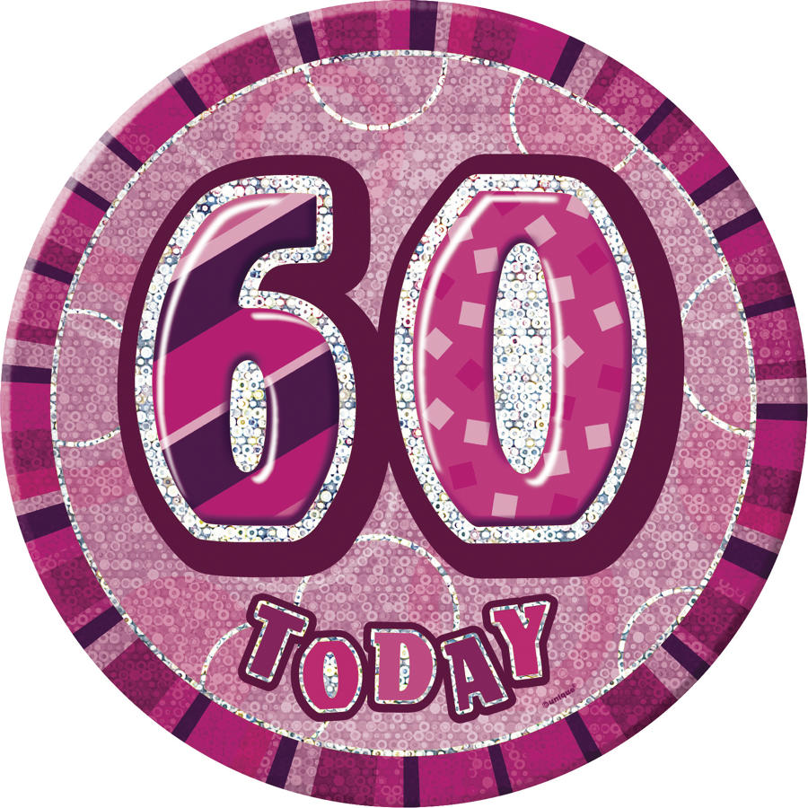 Pink Glitz 60th Birthday Badge