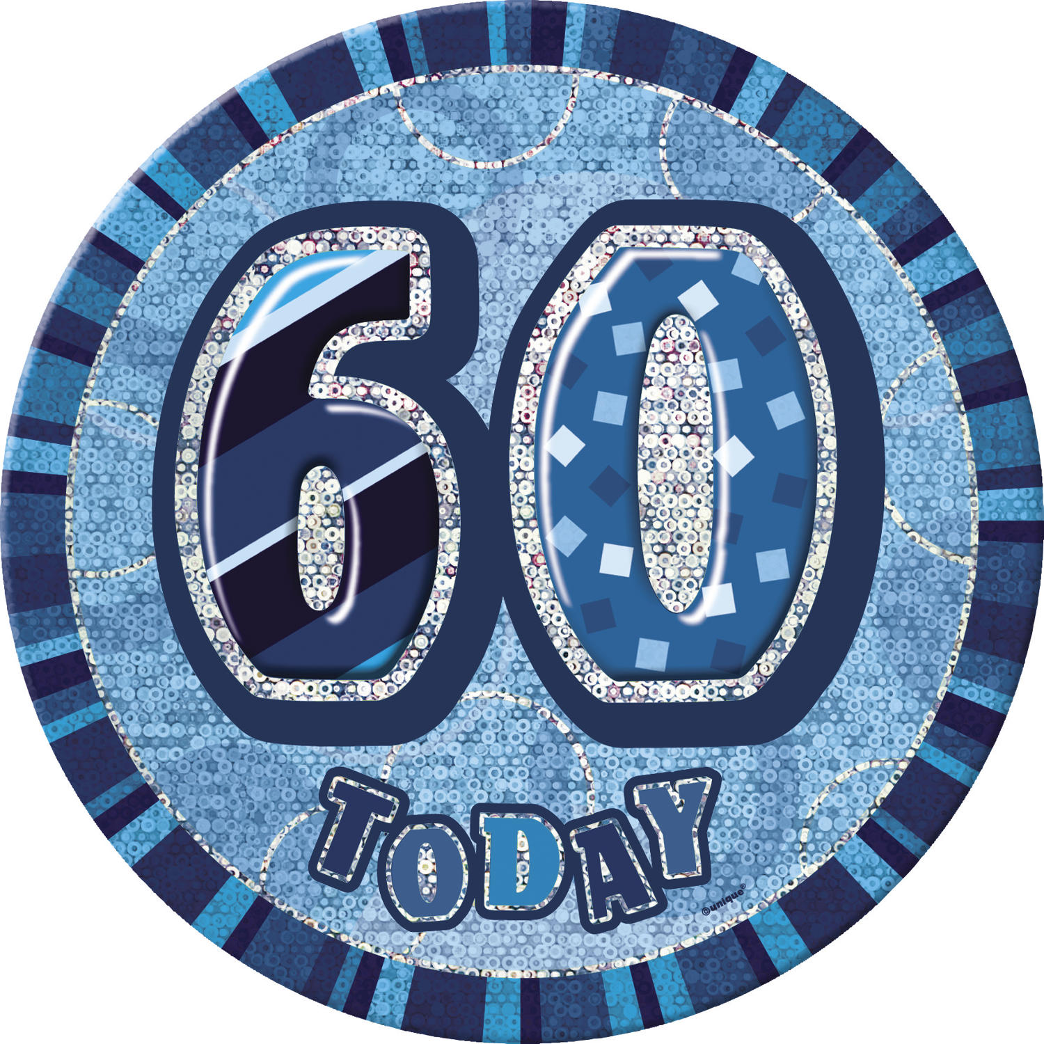 Blue Glitz 60th Birthday Badge
