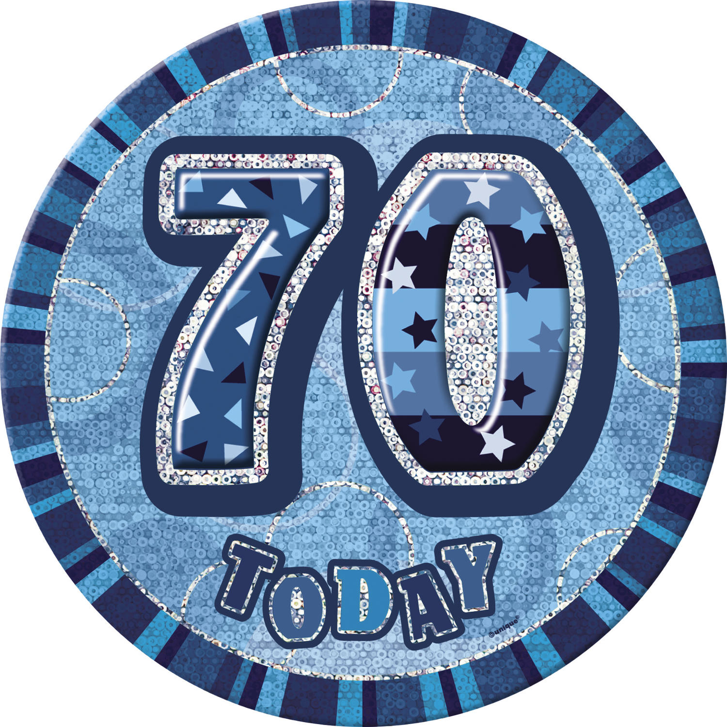 Blue Glitz 70th Birthday Badge