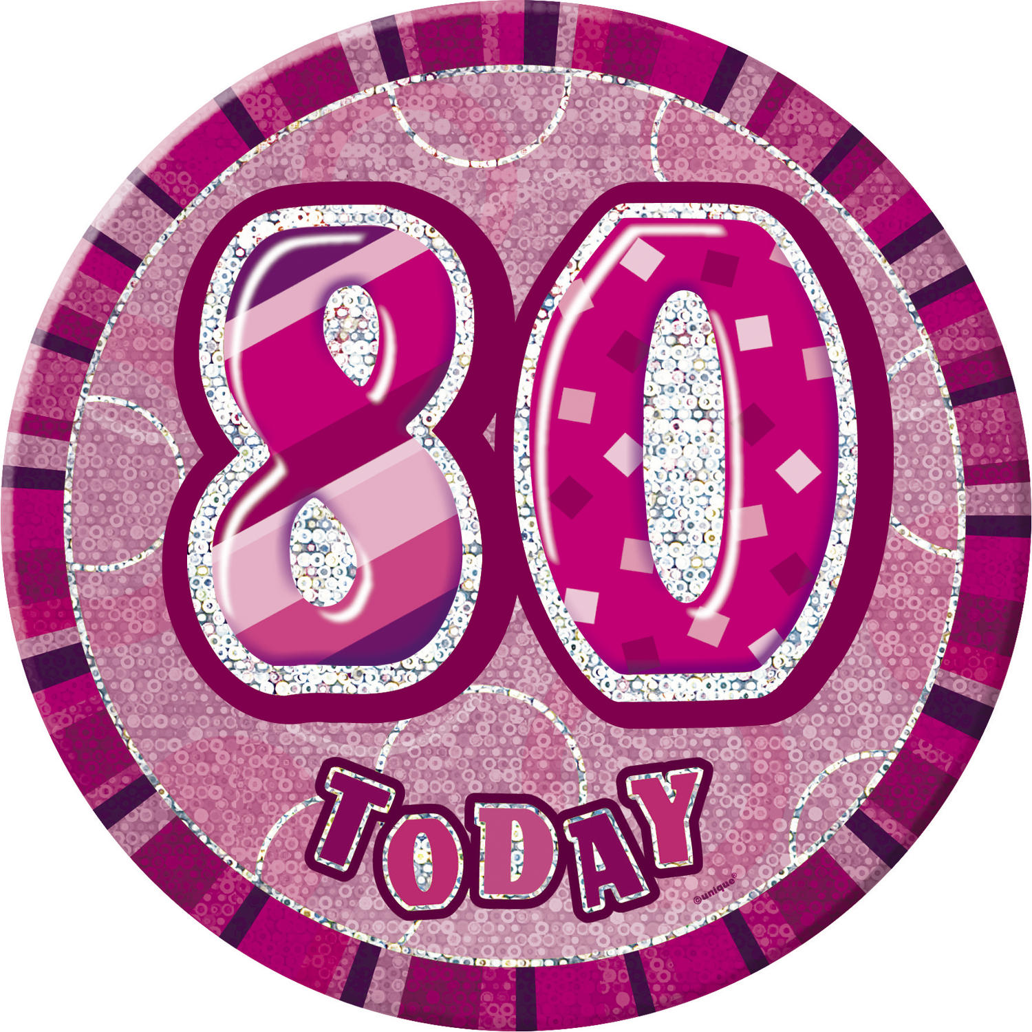 Pink Glitz 80th Birthday Badge