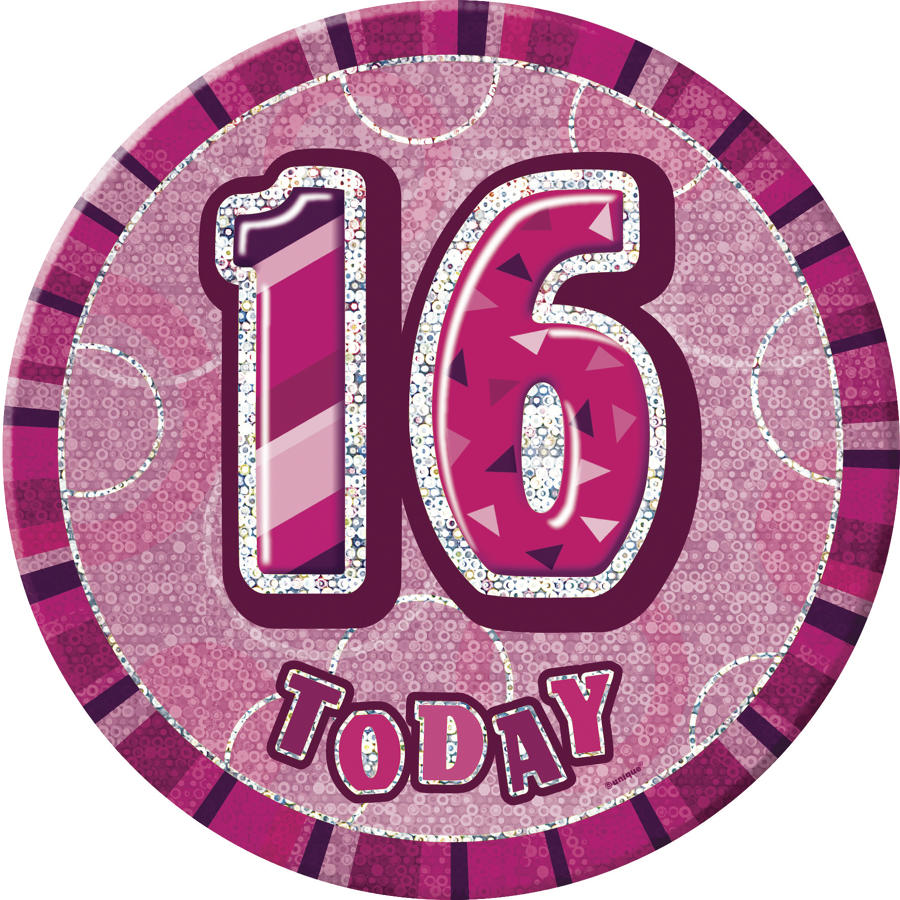 Pink Glitz 16th Birthday Badge