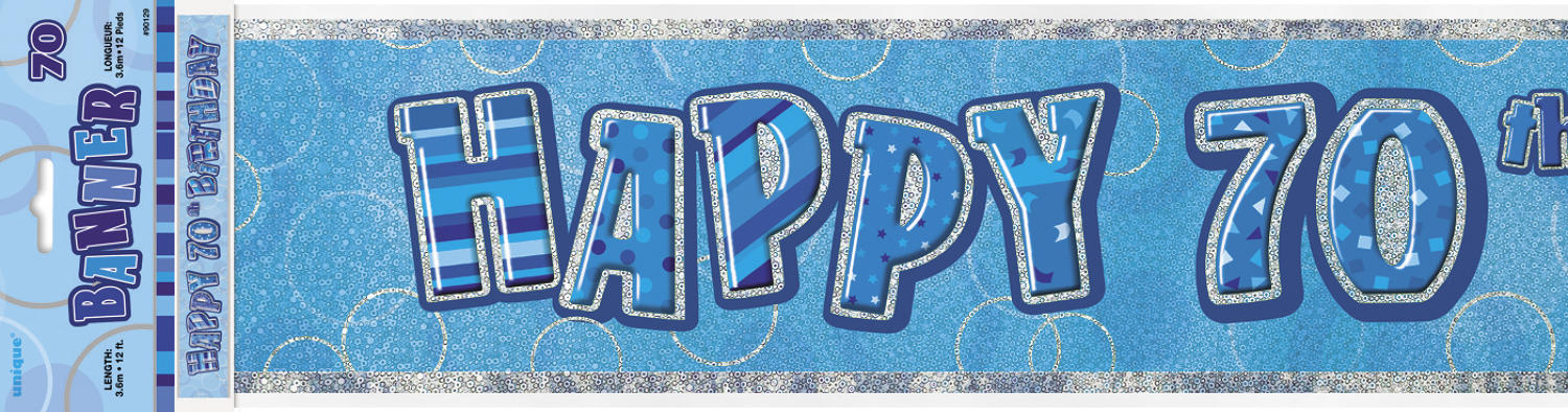 Blue Glitz Happy 70 Birthday Banner
