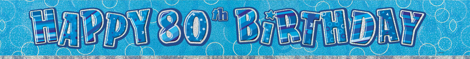 Blue Glitz Birthday 80 Banner