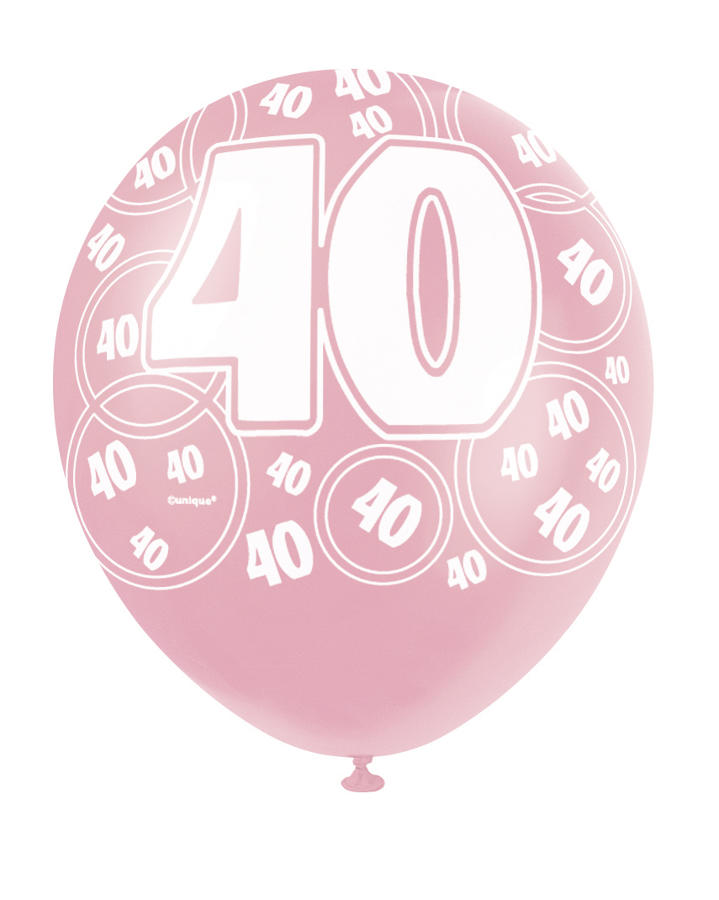 Pink Glitz - 40th Birthday Balloons