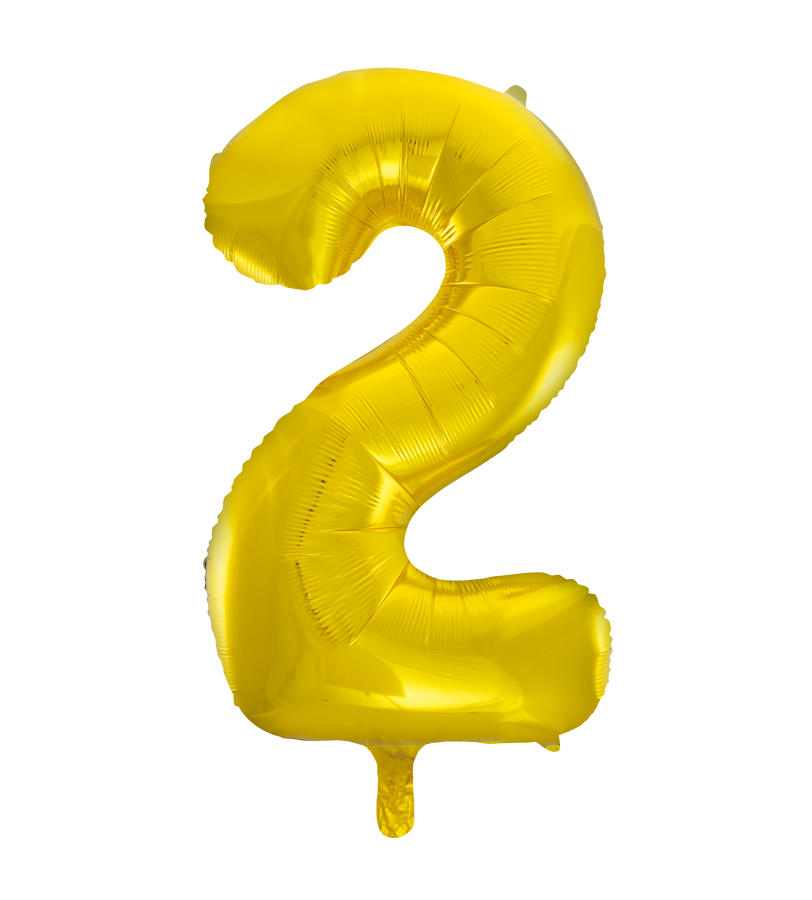 Number 2 Gold Foil Balloon