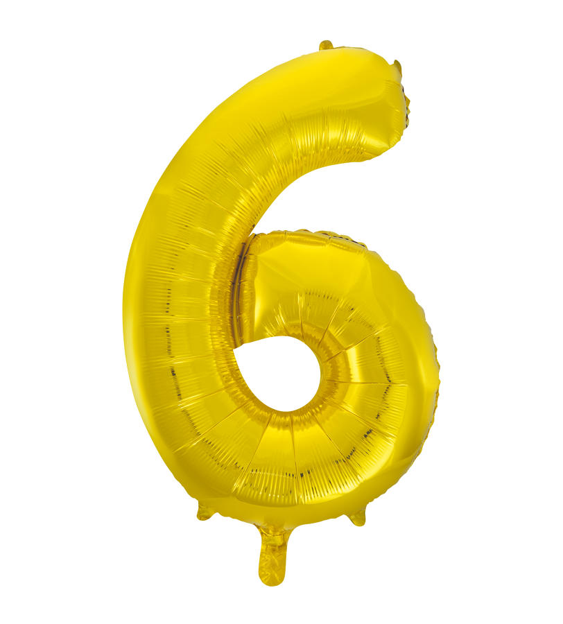 Number 6 Gold Foil Balloon