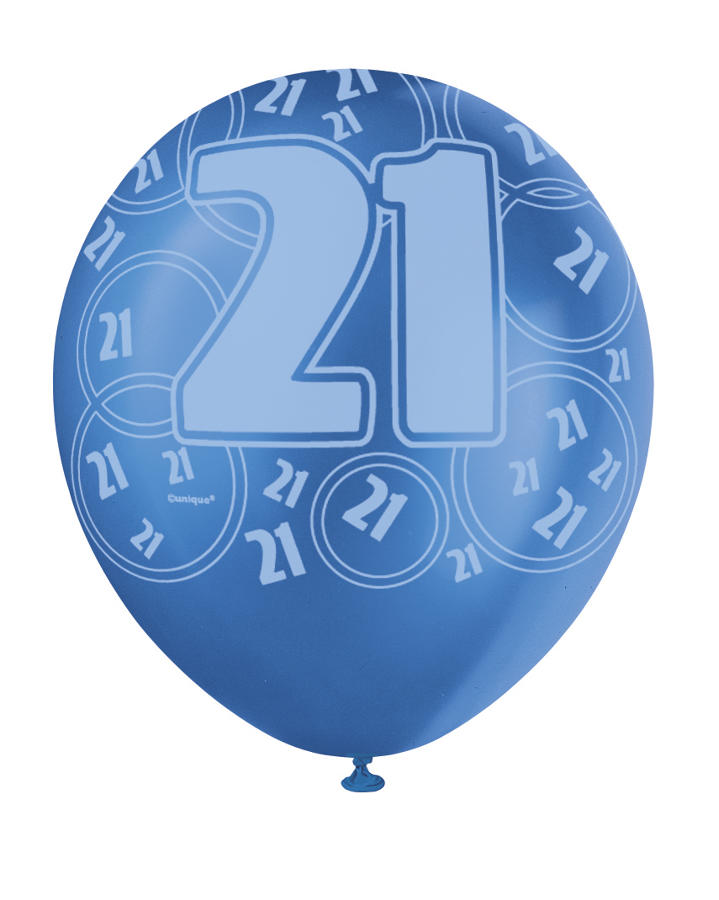 Blue Glitz - 21st Birthday Balloons