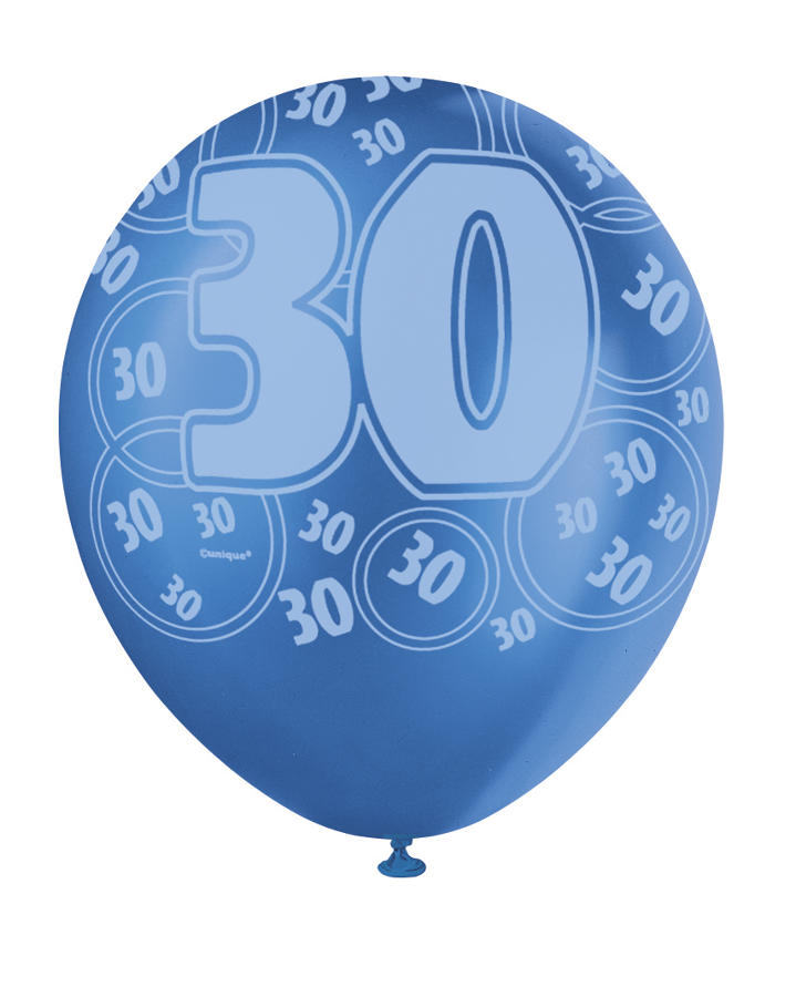 Blue Glitz - 30th Birthday Balloons