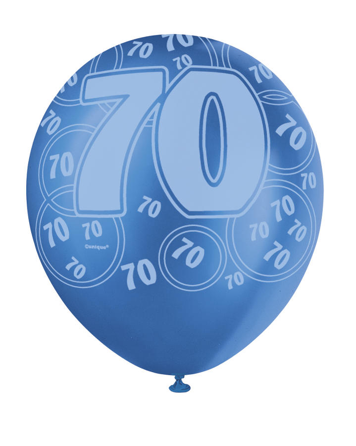 Blue Glitz - 70th Birthday Balloons