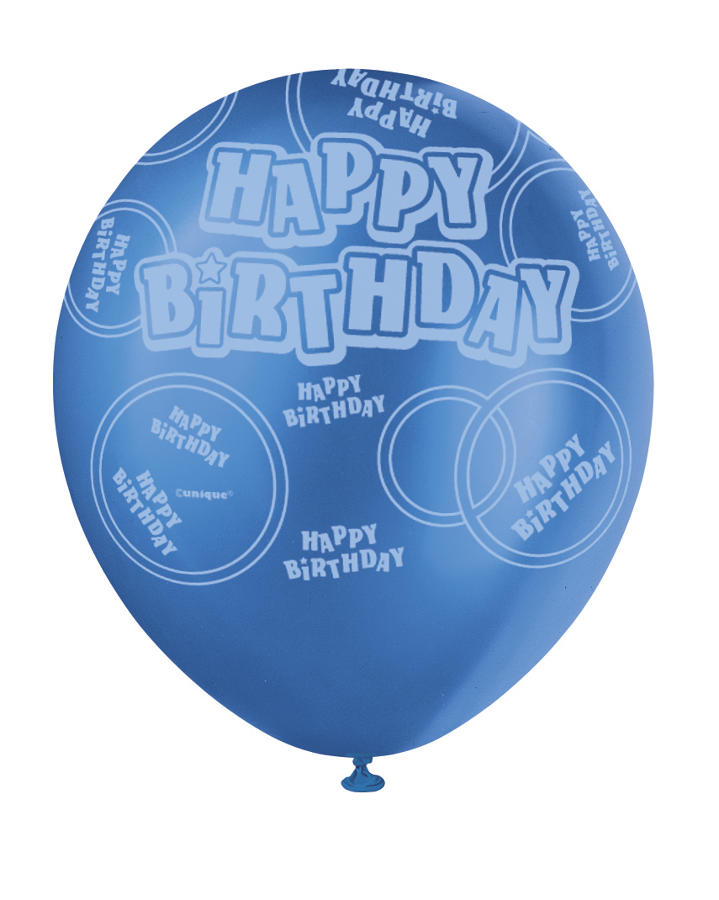 Blue Glitz - Happy Birthday Balloons