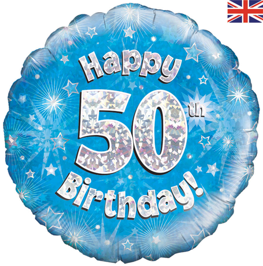 Blue Holographic 50th Birthday Balloon