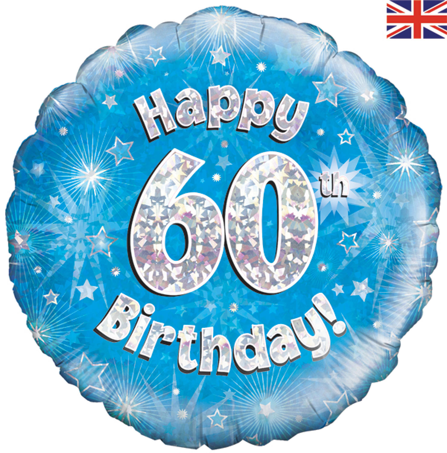 Blue Holographic 60th Birthday Balloon