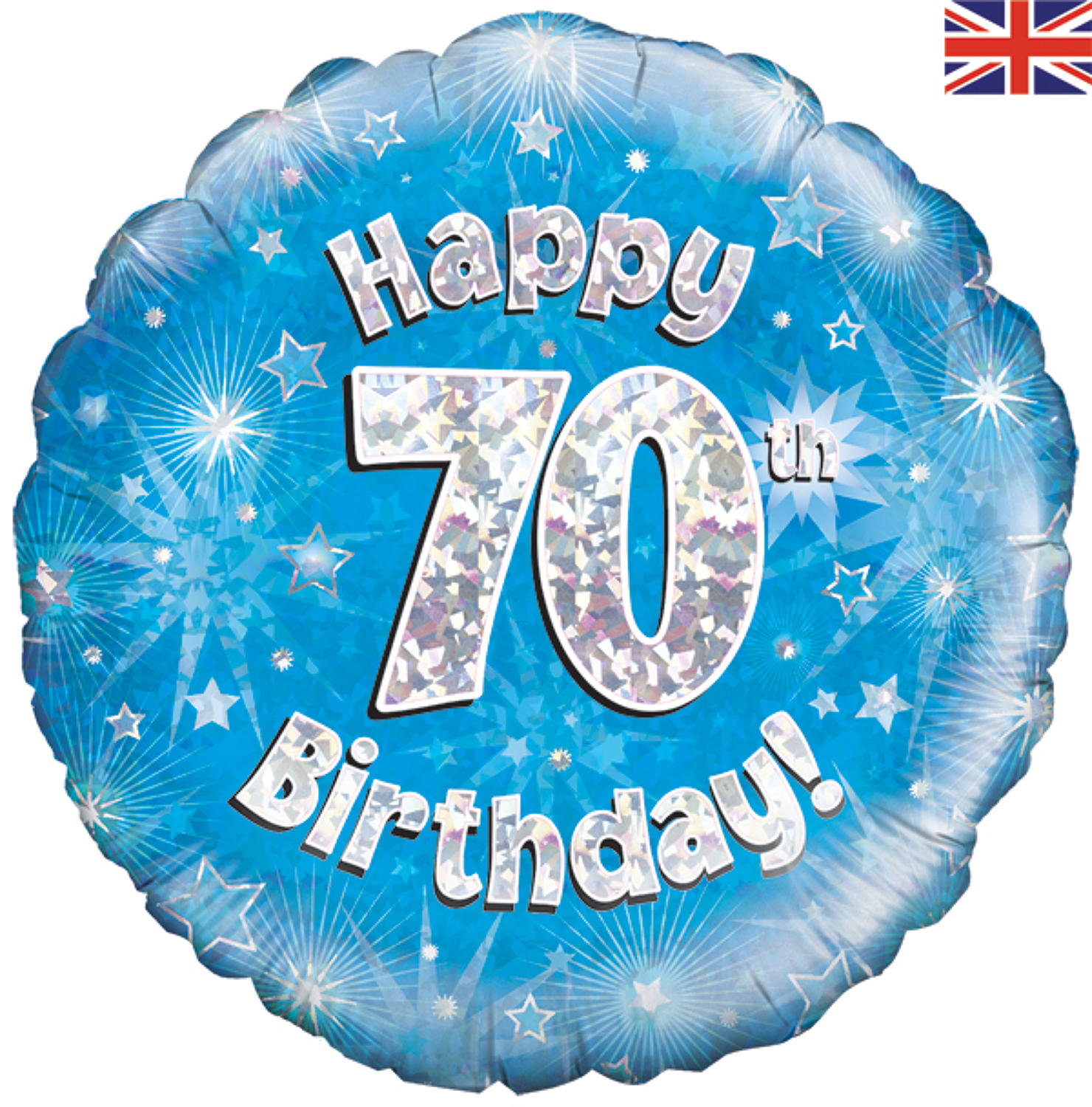Blue Holographic 70th Birthday Balloon