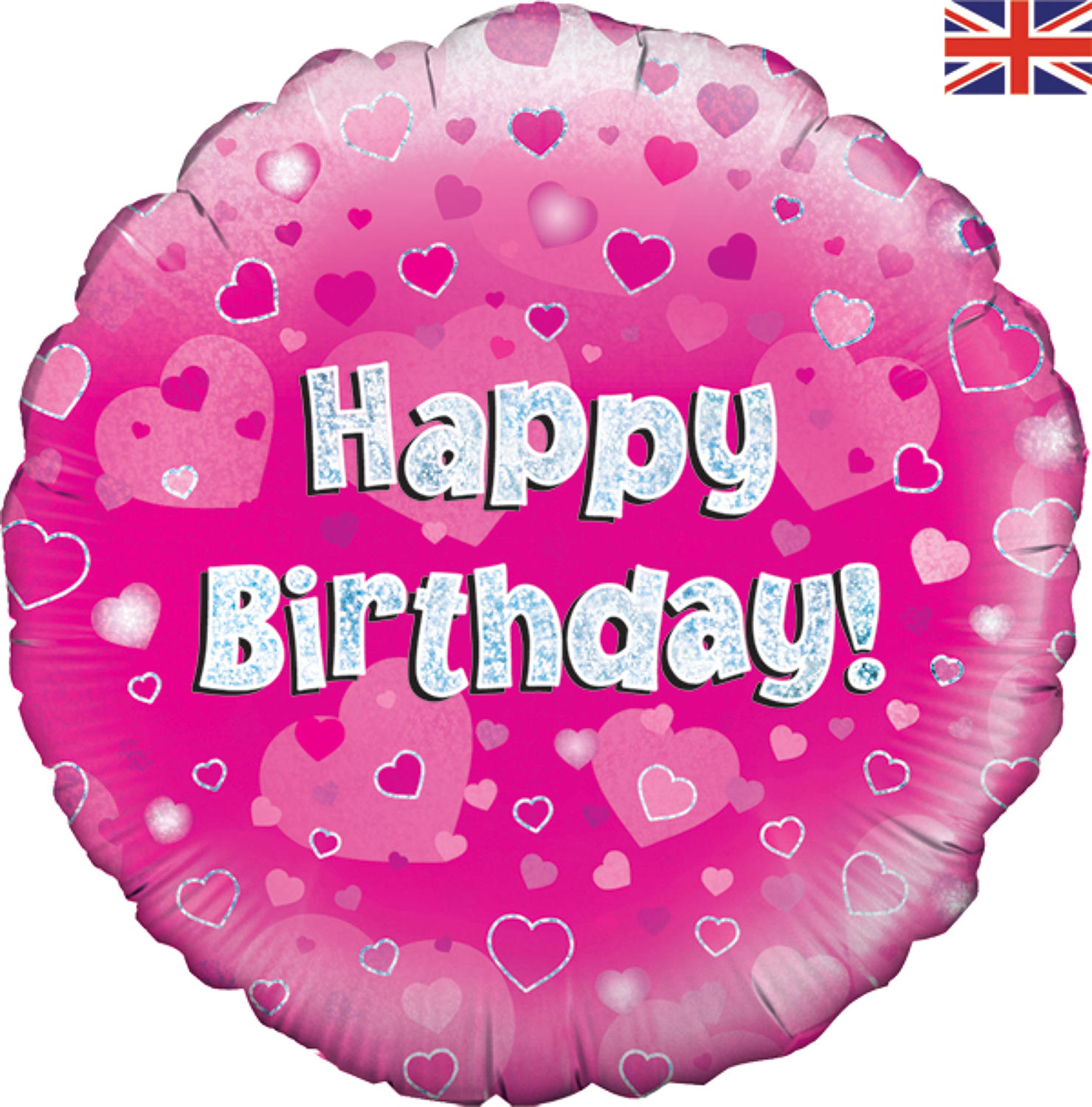 Pink Holographic Happy Birthday Balloon
