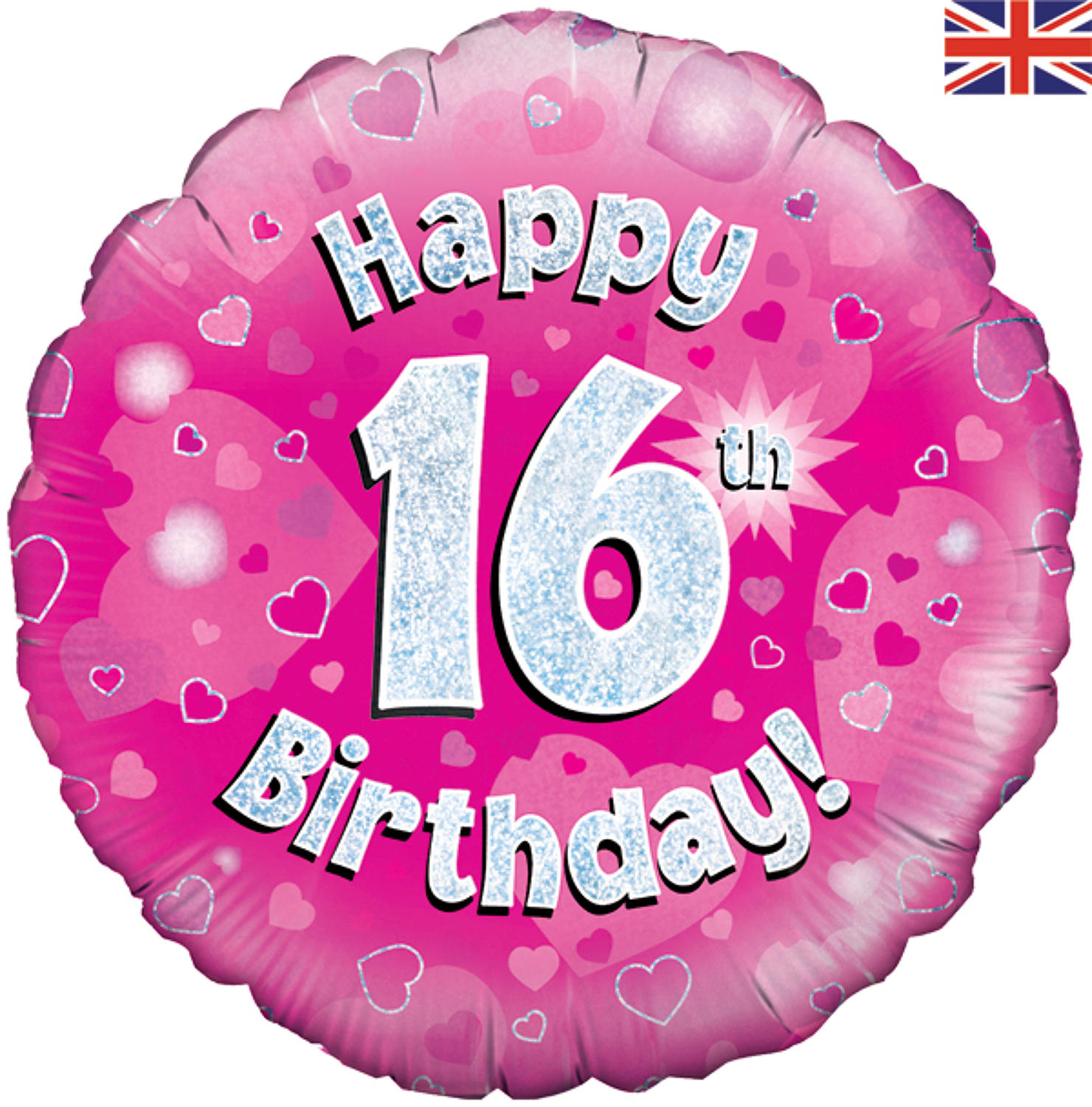Pink Holographic 16th Birthday Balloon