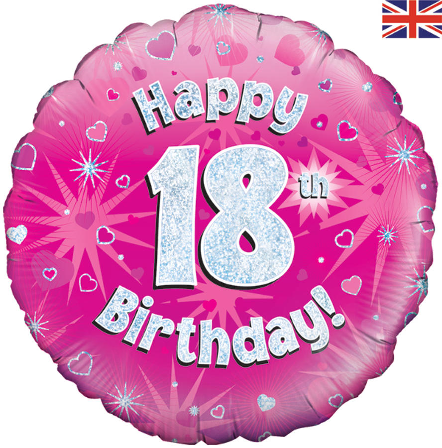 Pink Holographic 18th Birthday Balloon
