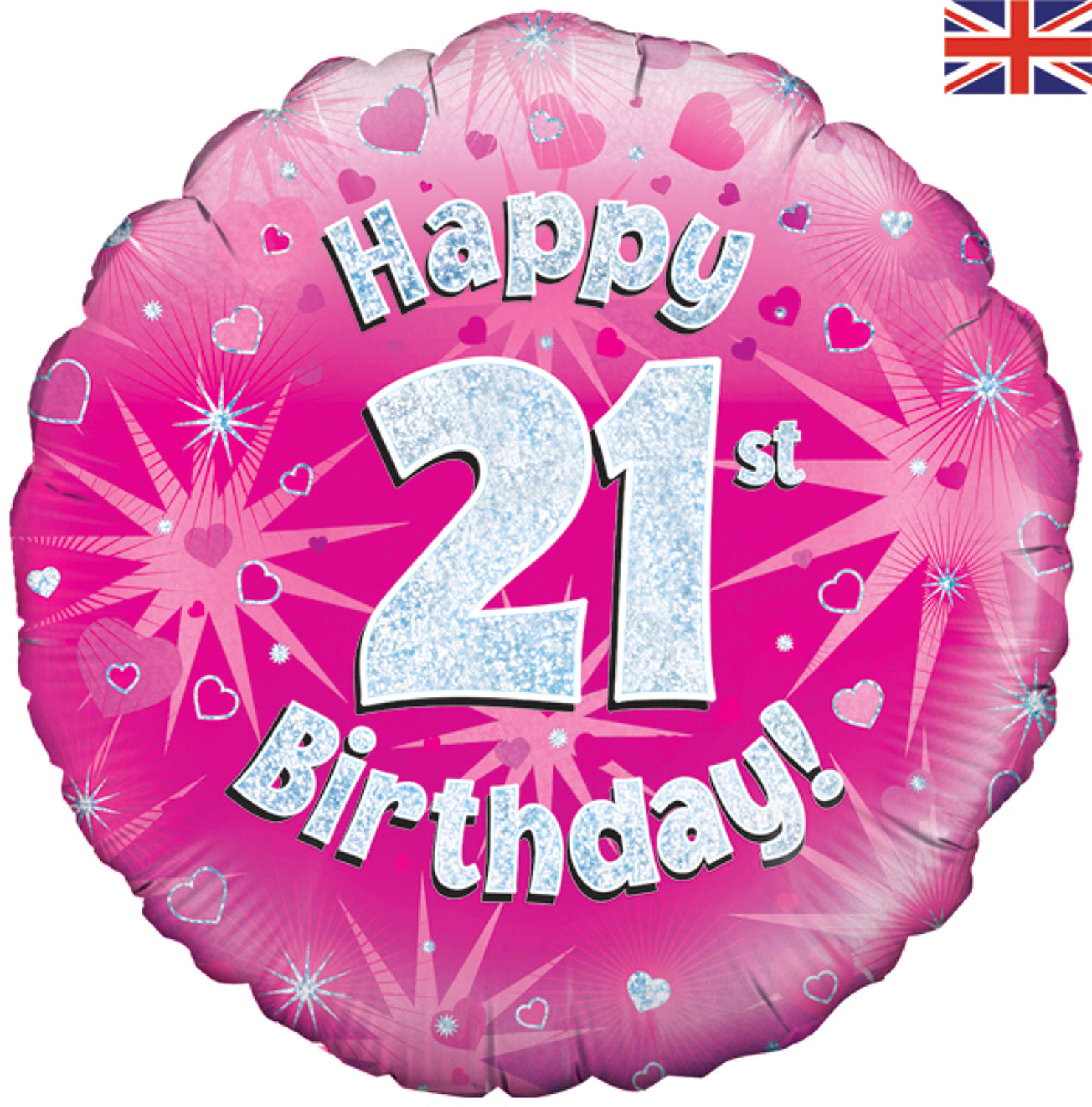 Pink Holographic 21st Birthday Balloon