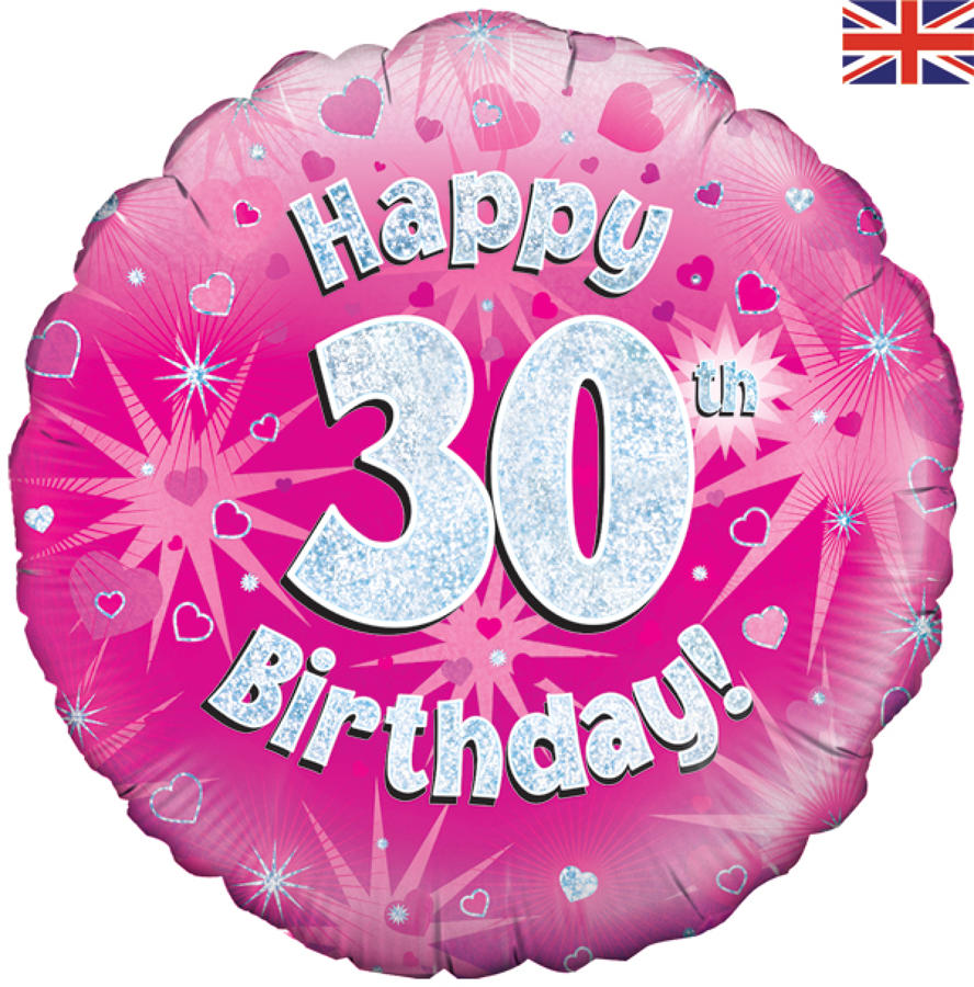 Pink Holographic 30th Birthday Balloon