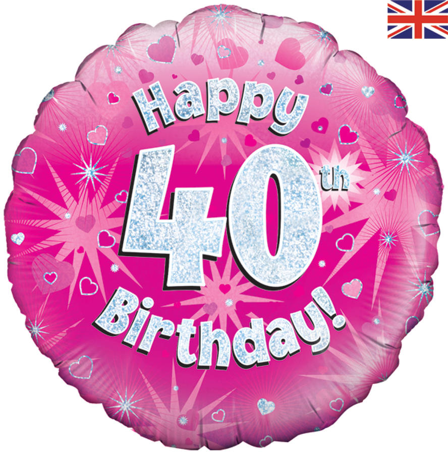 Pink Holographic 40th Birthday Balloon