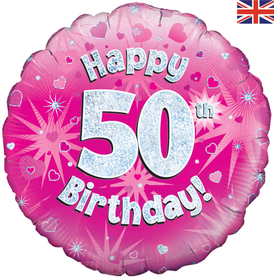 Pink Holographic 50th Birthday Balloon