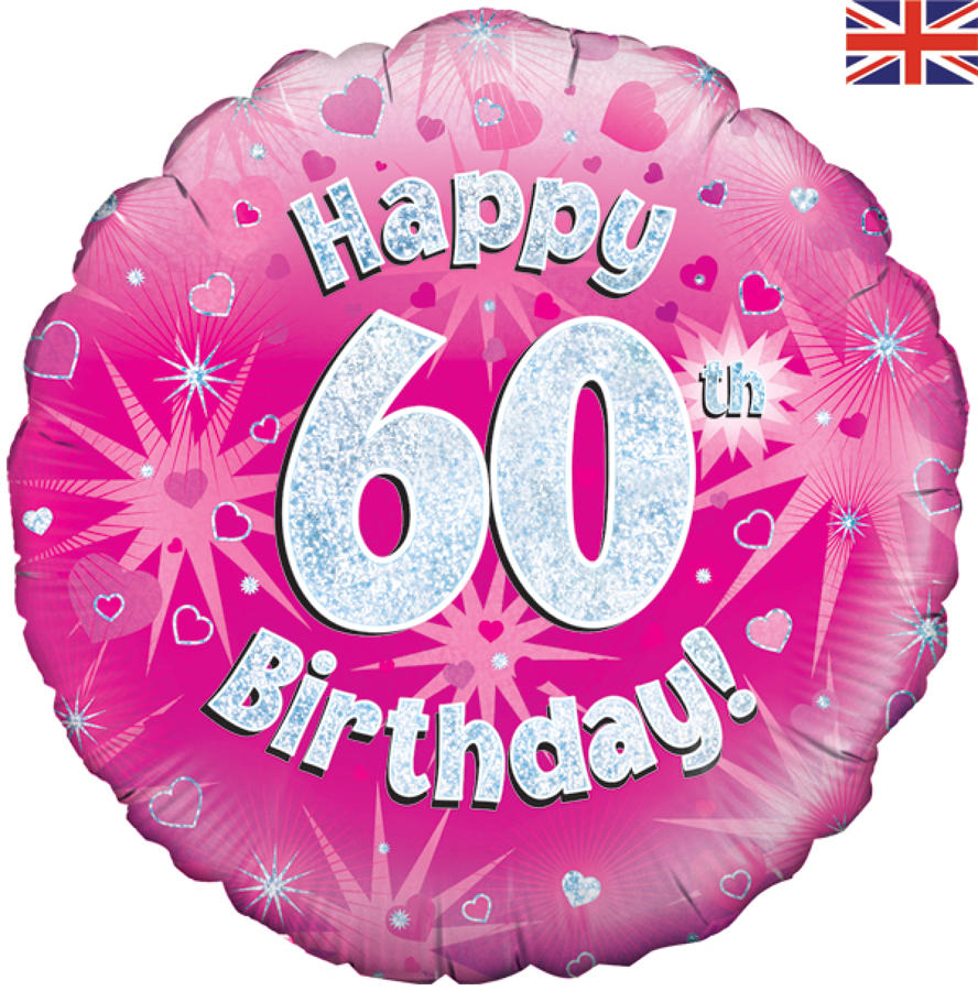 Pink Holographic 60th Birthday Balloon