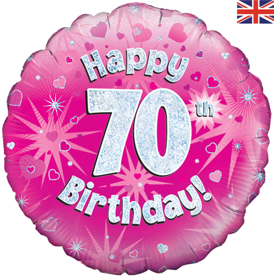 Pink Holographic 70th Birthday Balloon