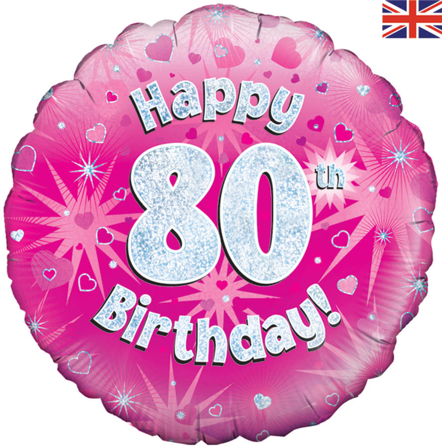 Pink Holographic 80th Birthday Balloon