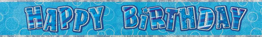 Blue Glitz Happy Birthday Banner