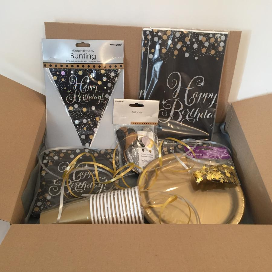 Gold Celebration birthday party supplies package