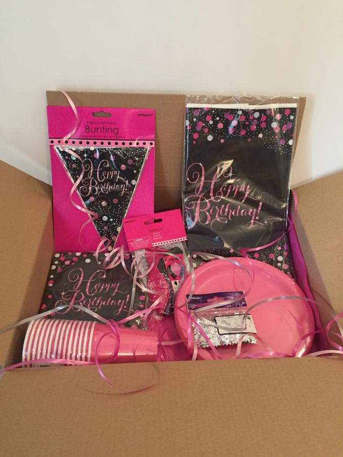 Pink Celebration birthday party supplies package